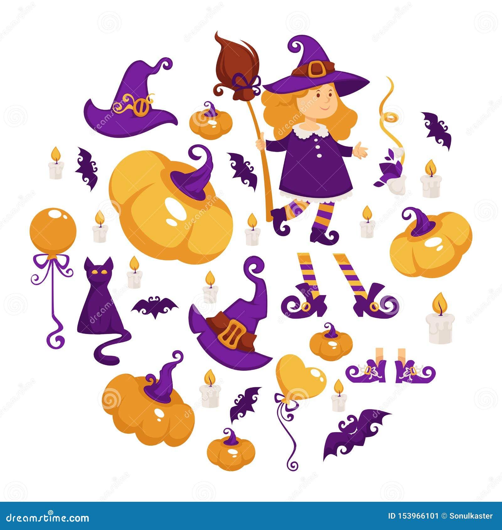 Halloween-Party-Girl im Hexenkostüm Süßes sonst gibt s Saures