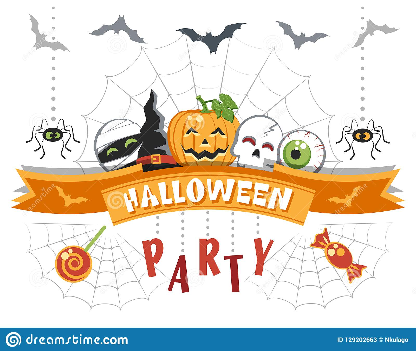 Halloween Party. Greeting card with funny cartoon characters.