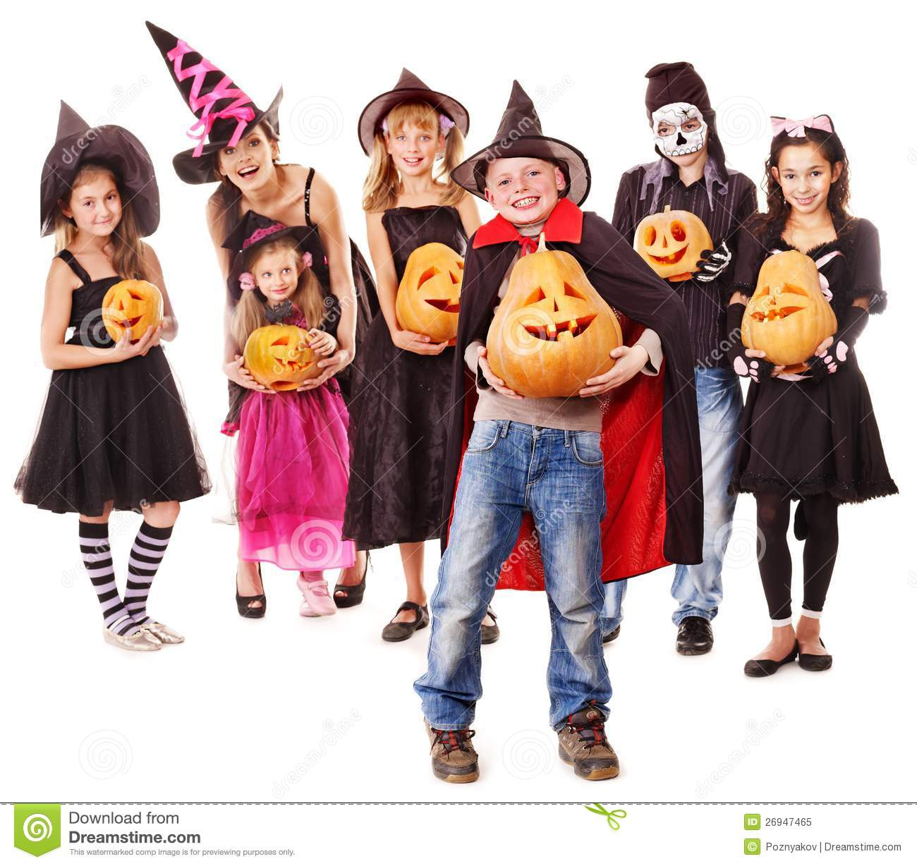 halloween party with group kid holding pumpkin - Children Halloween Pictures