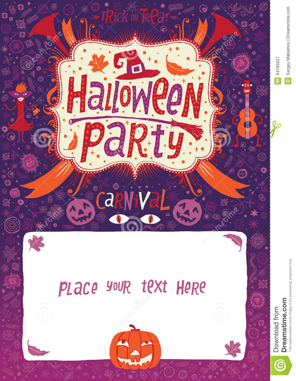 Halloween Party. Halloween Poster, Card Or Background For Halloween ...