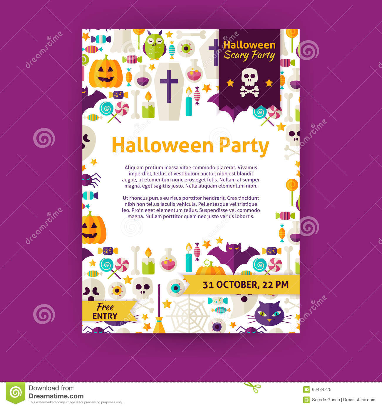 halloween party invitation template holiday stock vector image halloween party holiday vector invitation template flyer royalty stock photo