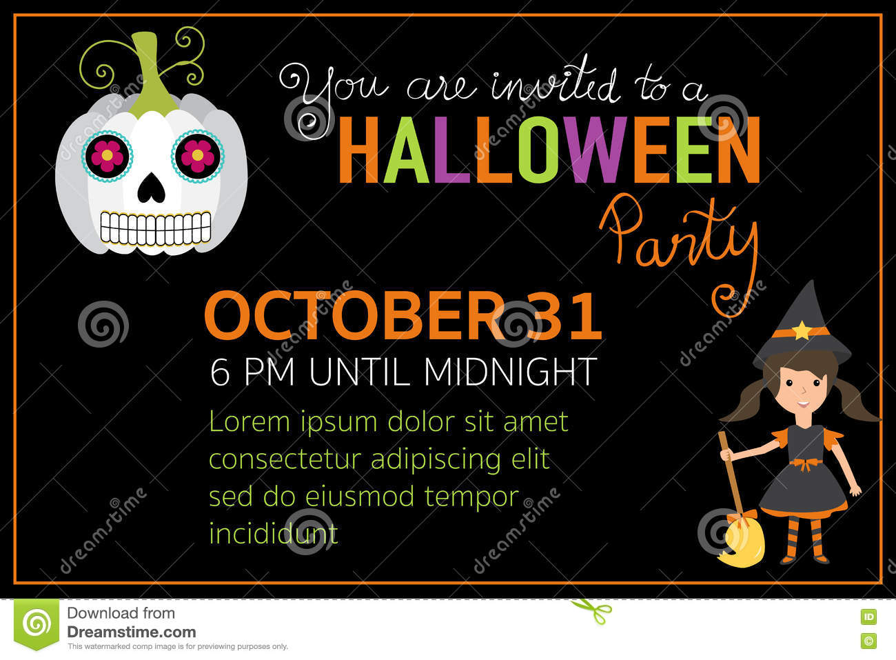 Halloween Party Invitation Cards Witch Girl Character Stock