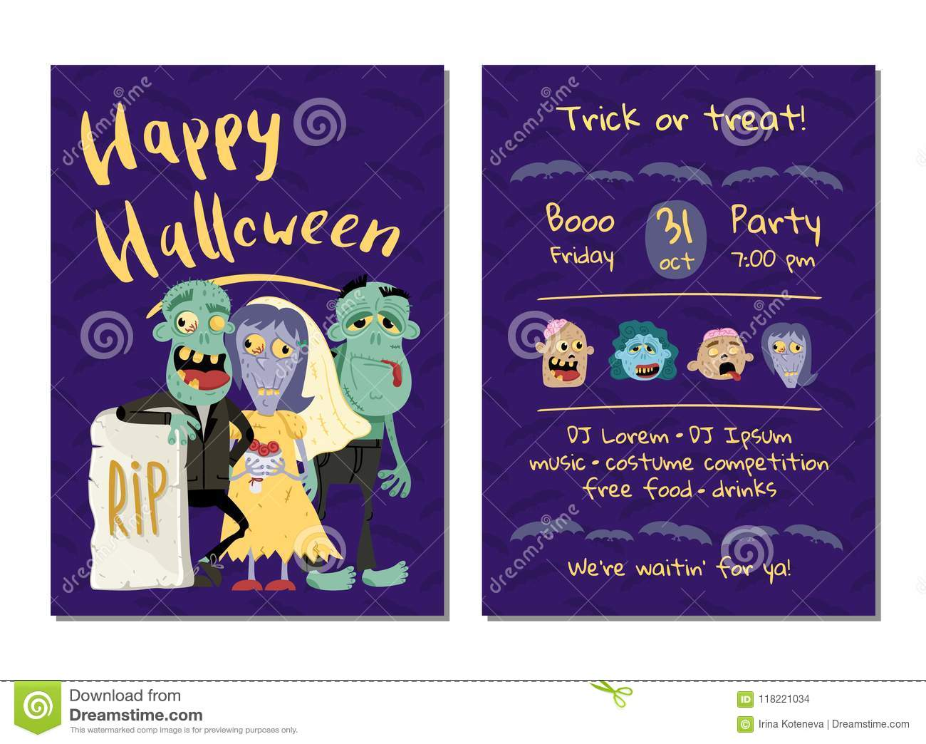 Halloween Party Invitation With Funny Zombies Stock Illustration ...