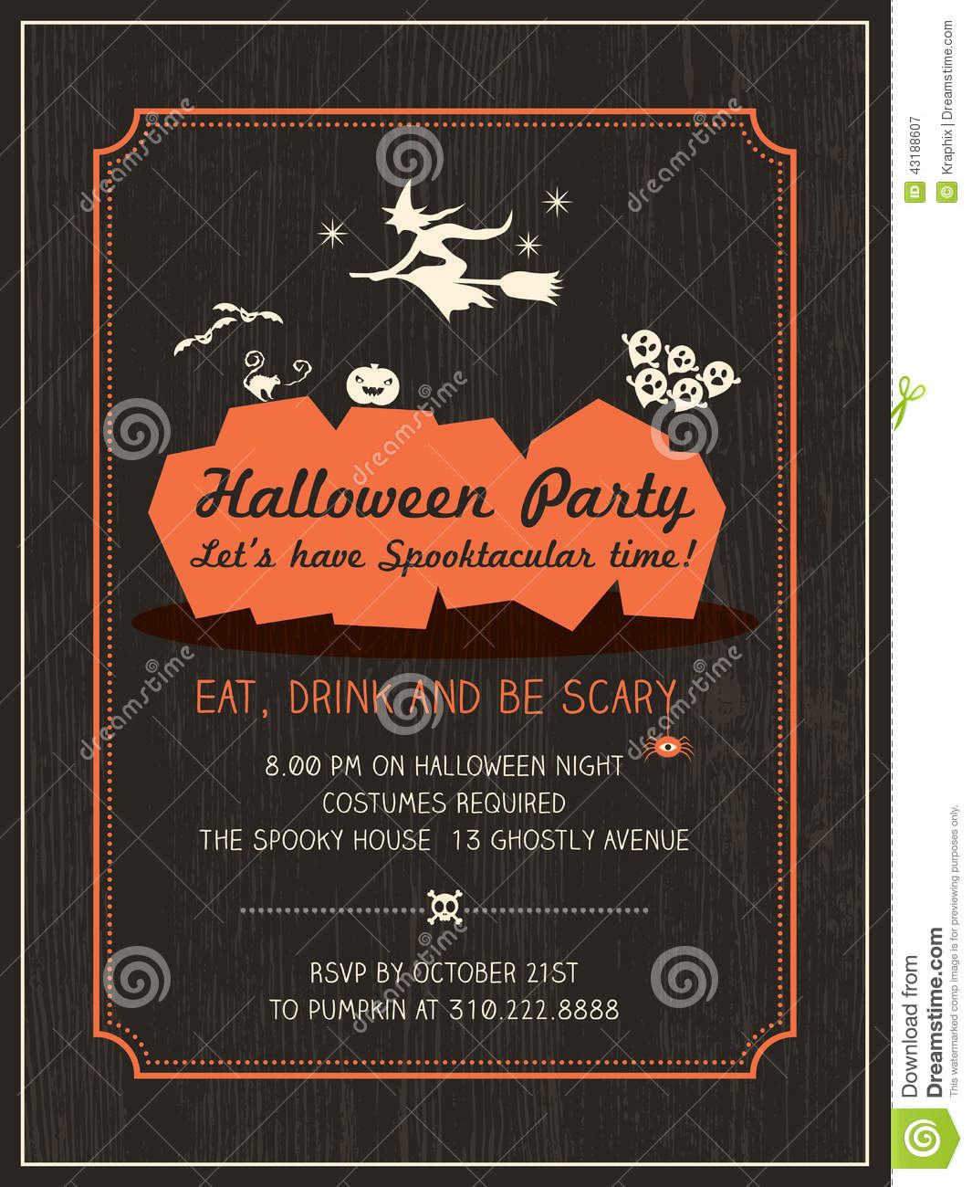 Halloween Party Invitation Template Stock Vector - Image: 43188607