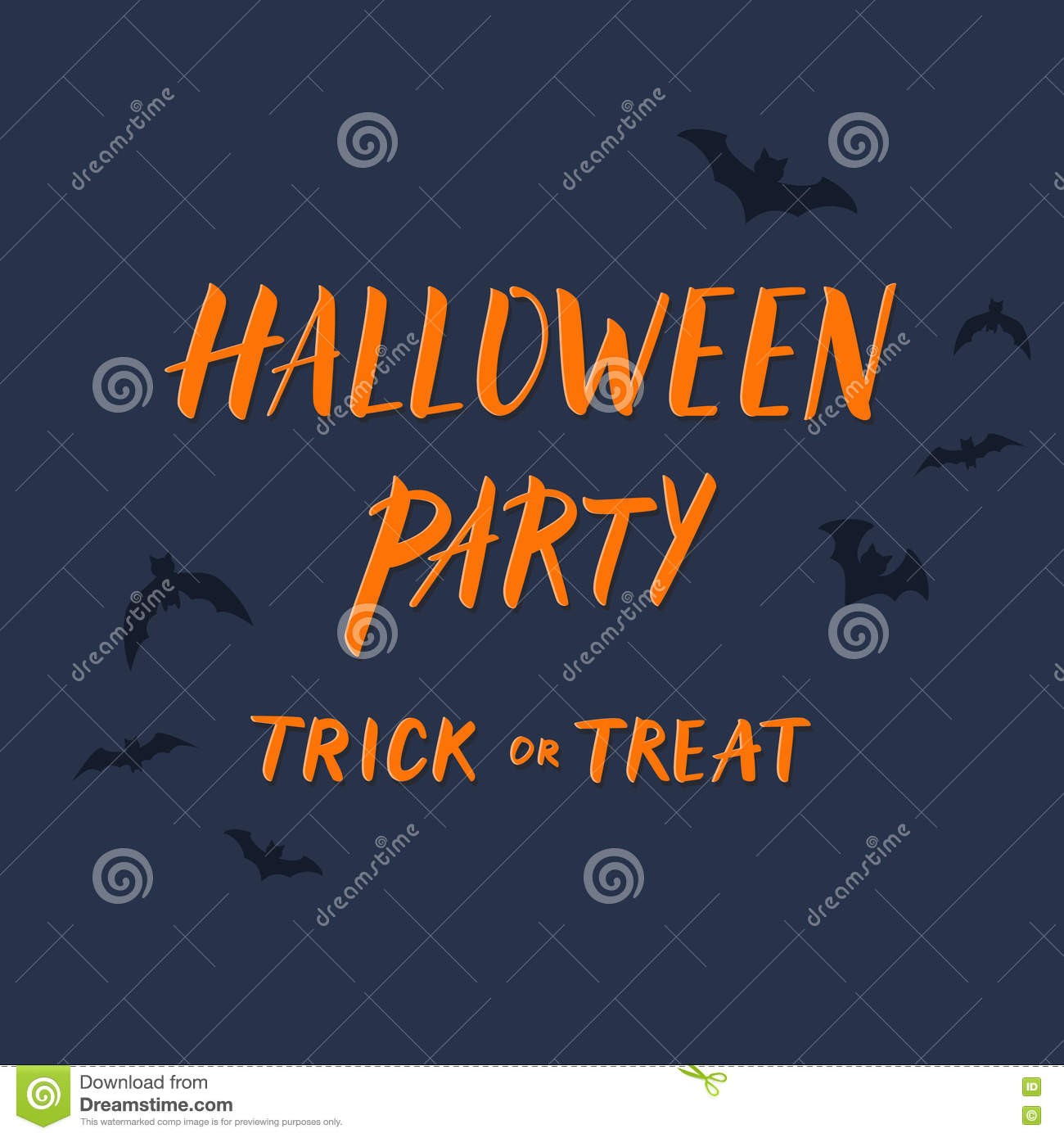 halloween party invitation template with flying bats and hand dr