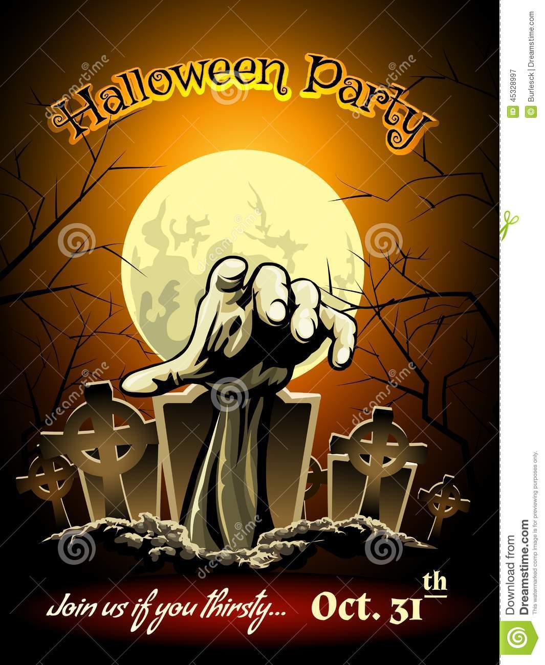 Halloween Party Invitation With Zombie Graphic Stock Vector ...