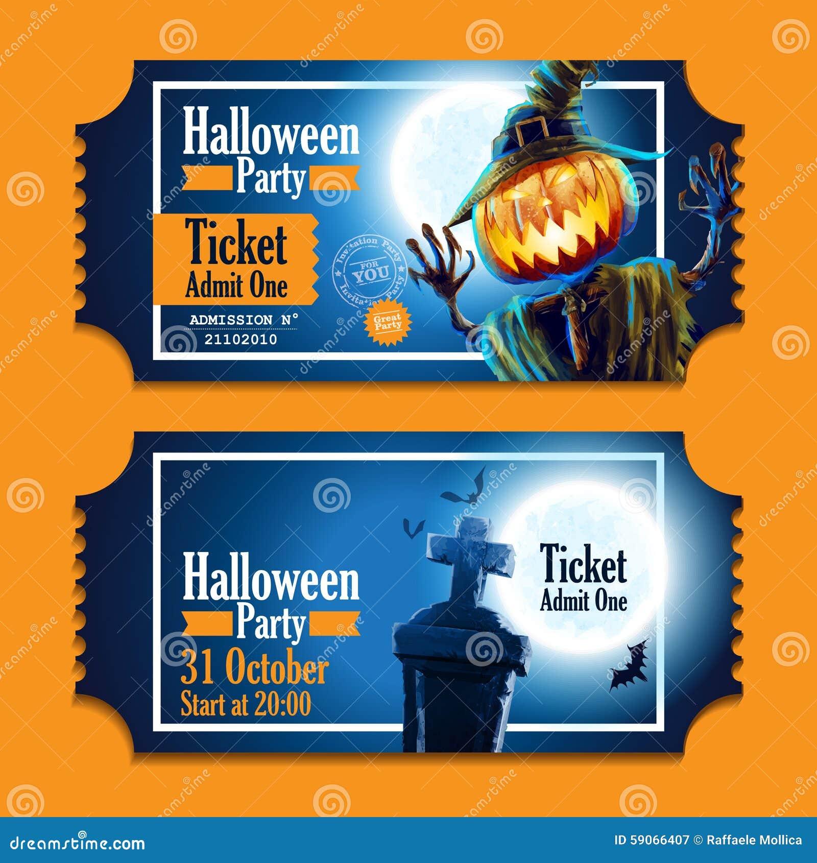 Halloween Party Night Pumpkin Ticket Stock Vector - Image: 59066407