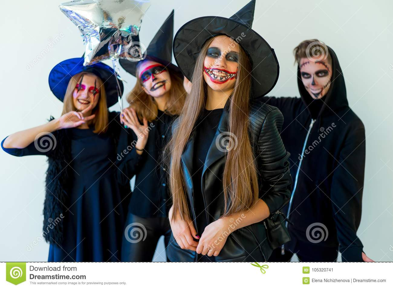Wonderful Halloween Party. People In Halloween Costumes With Make Up