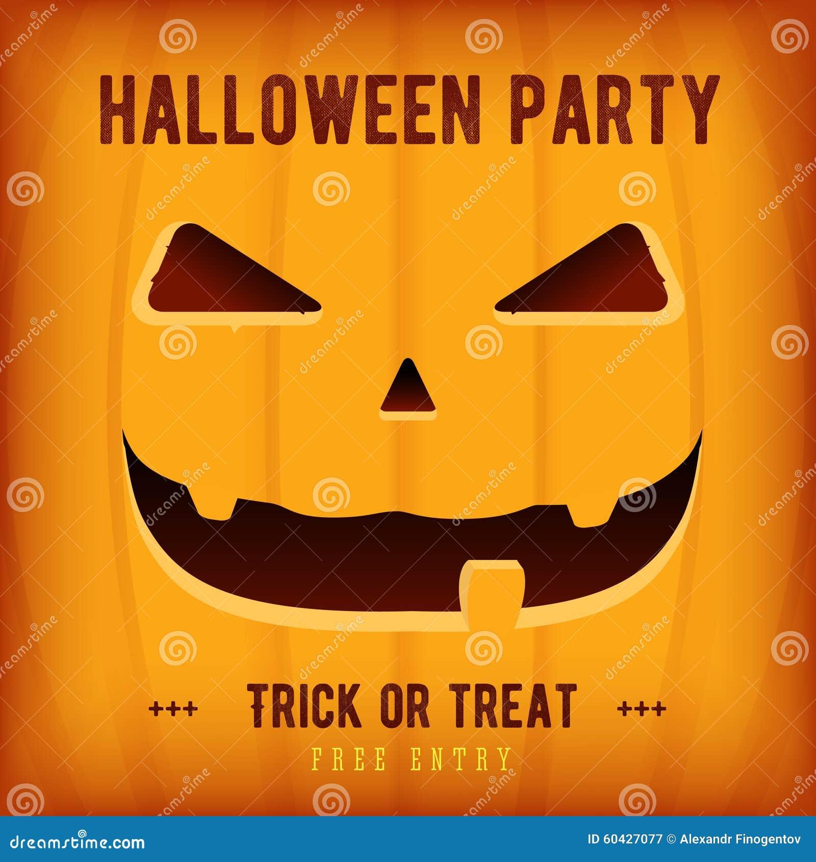 Halloween Party Poster Design Template With Orange Pumpkin Stock ...