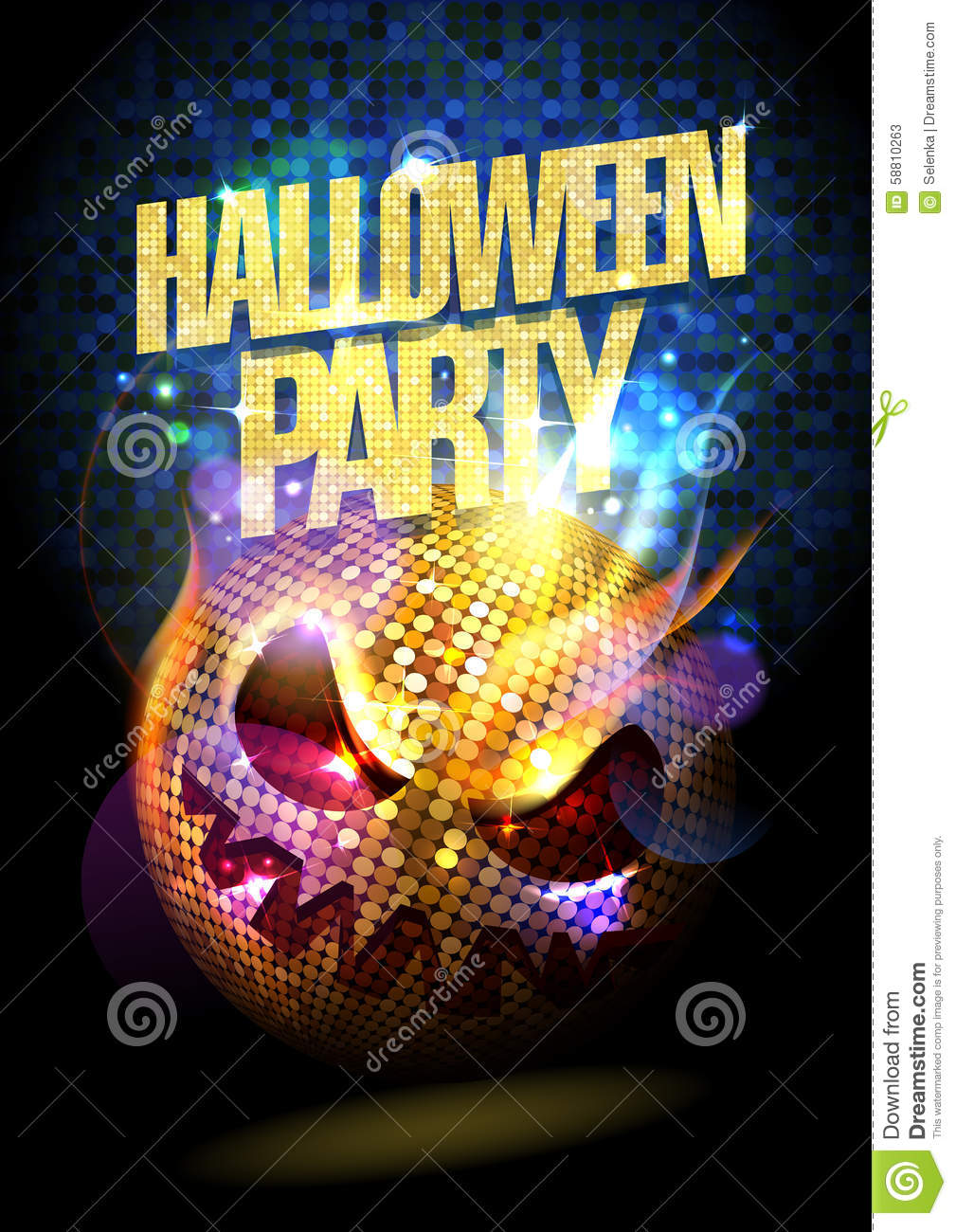 Halloween Party Poster With Disco Ball. Stock Vector - Image: 58810263