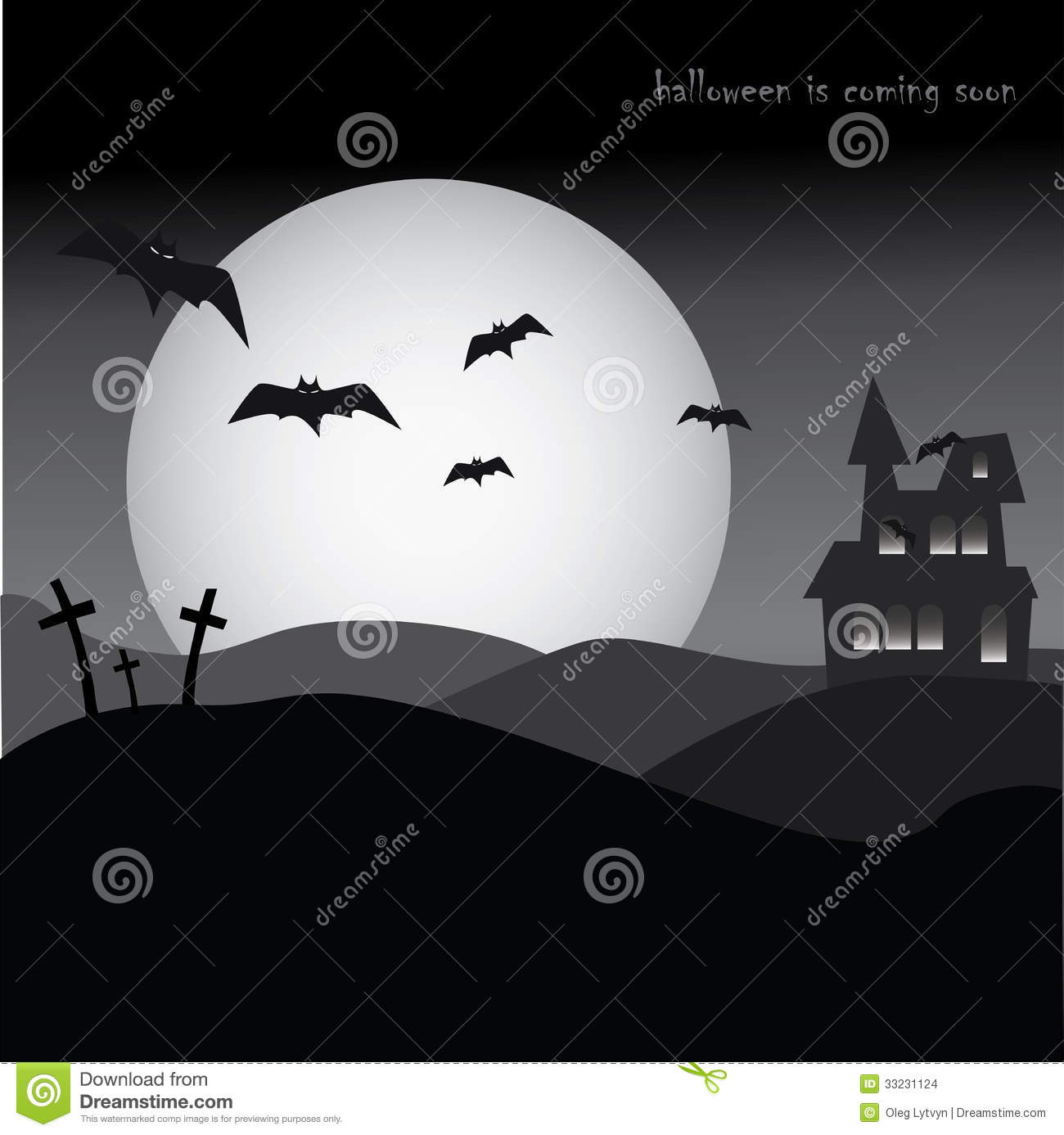 Halloween Party Poster, Horror, Night, Bats And Cemetery Stock ...