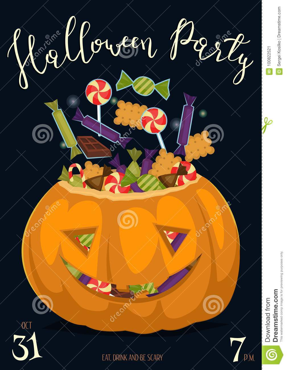Halloween Party Poster With Scary Pumpkin Stock Vector ...