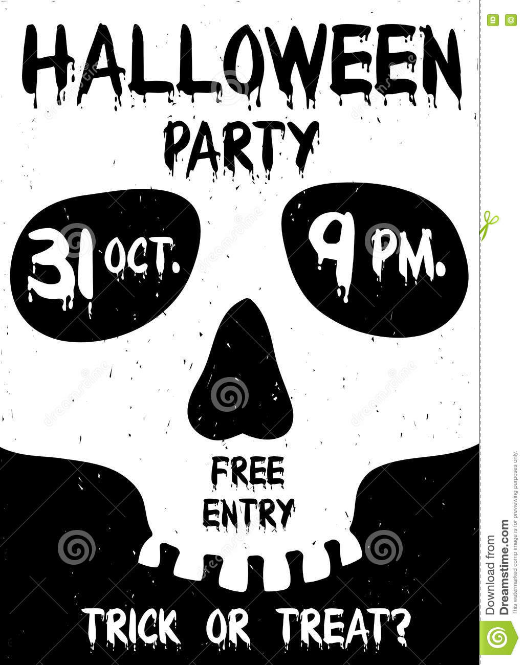 Halloween Party Poster With Skull Silhouette. Stock Vector - Image ...