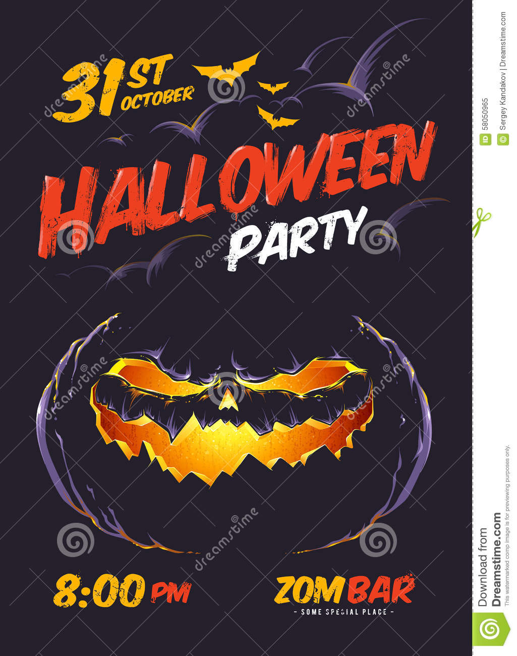 Halloween Party Poster Stock Vector - Image: 58050965