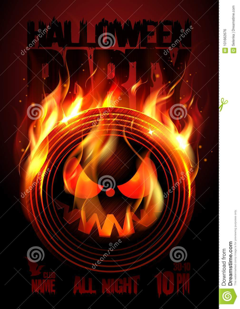 halloween party poster with vinyl stock vector - illustration of