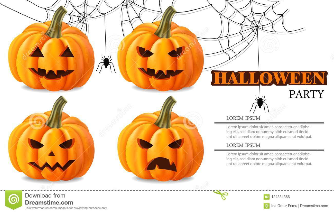 halloween party pumpkin faces card vector realistic 3d detailed rh dreamstime com