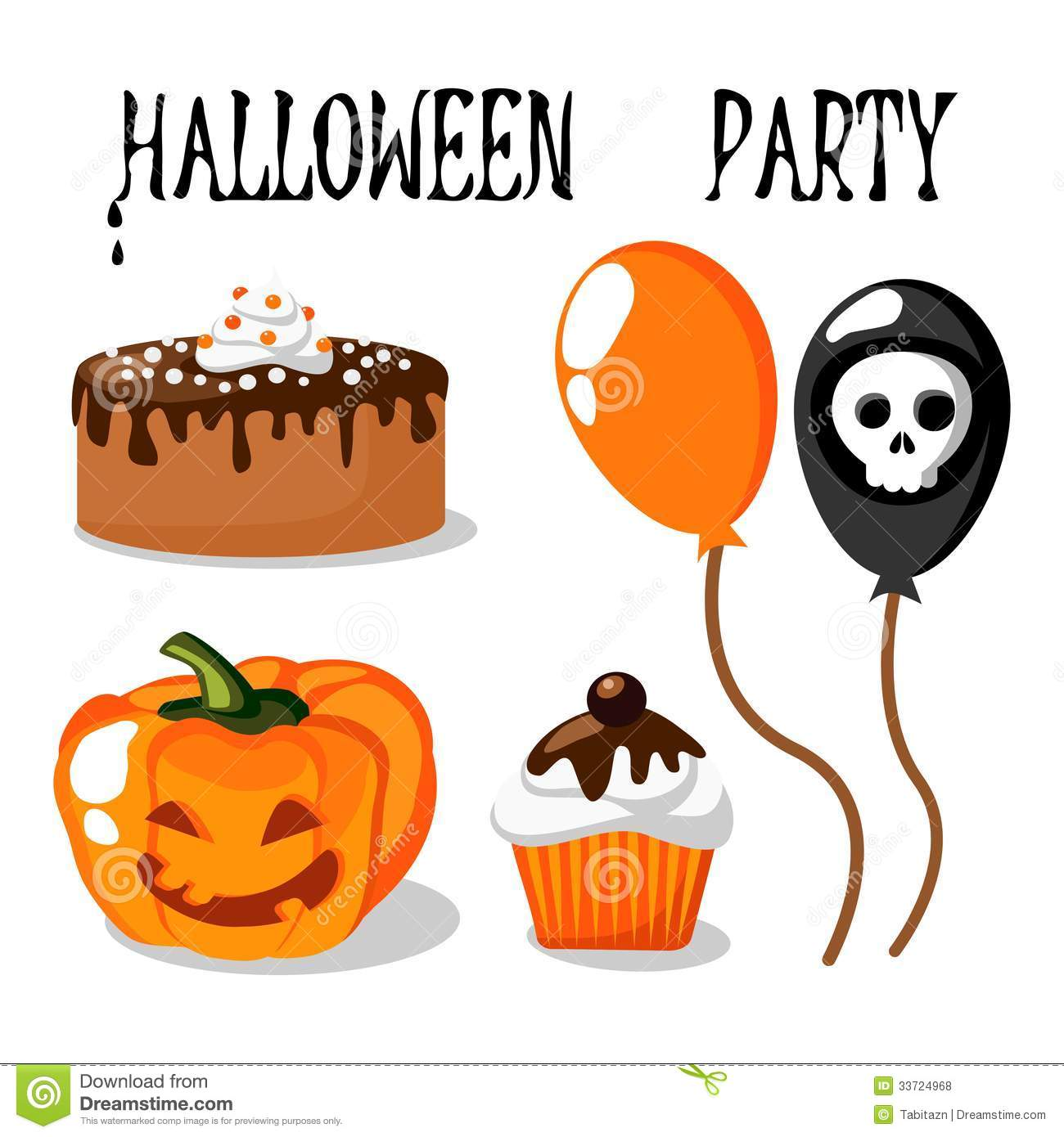 Halloween Party Set With Food, Balloons, Pumpkin Royalty Free ...