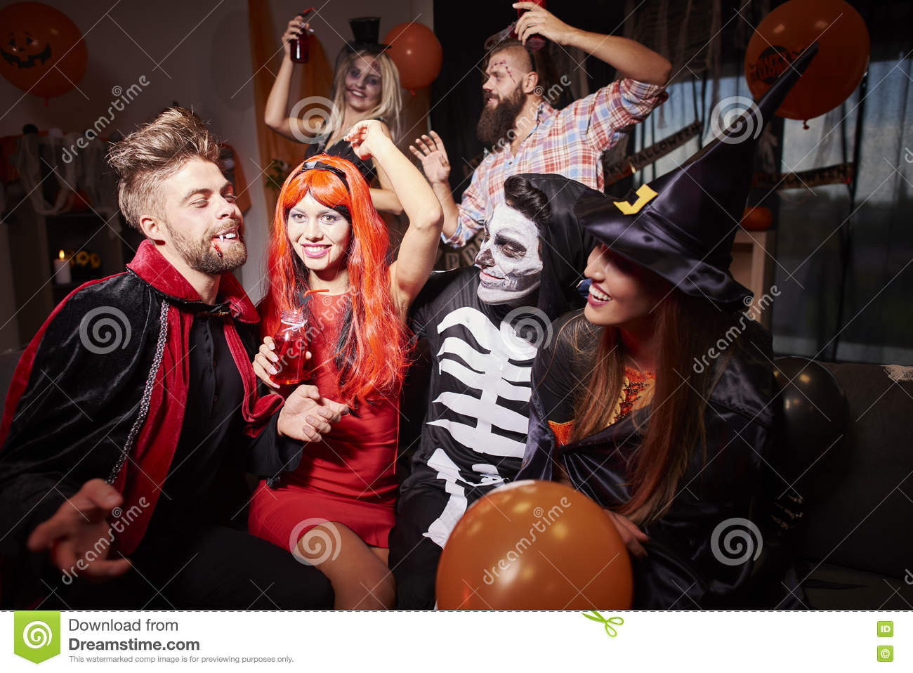 Halloween Costumes For 4 Friends.Halloween Party Stock Image Image Of Costume Nightlife
