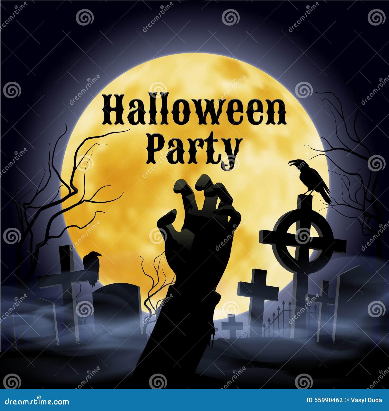 Halloween Cross Graveyard Under Full Moon Stock Images - Image ...