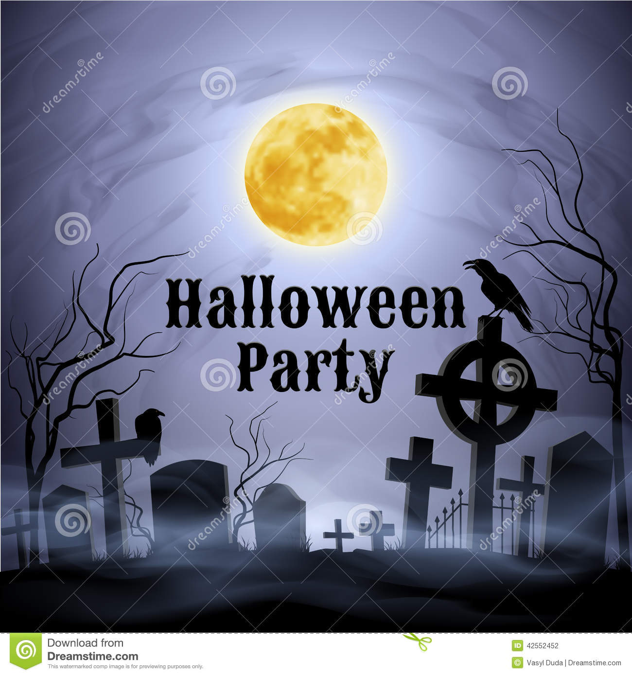 Halloween Party On A Spooky Graveyard Under Full Moon Stock Vector ...
