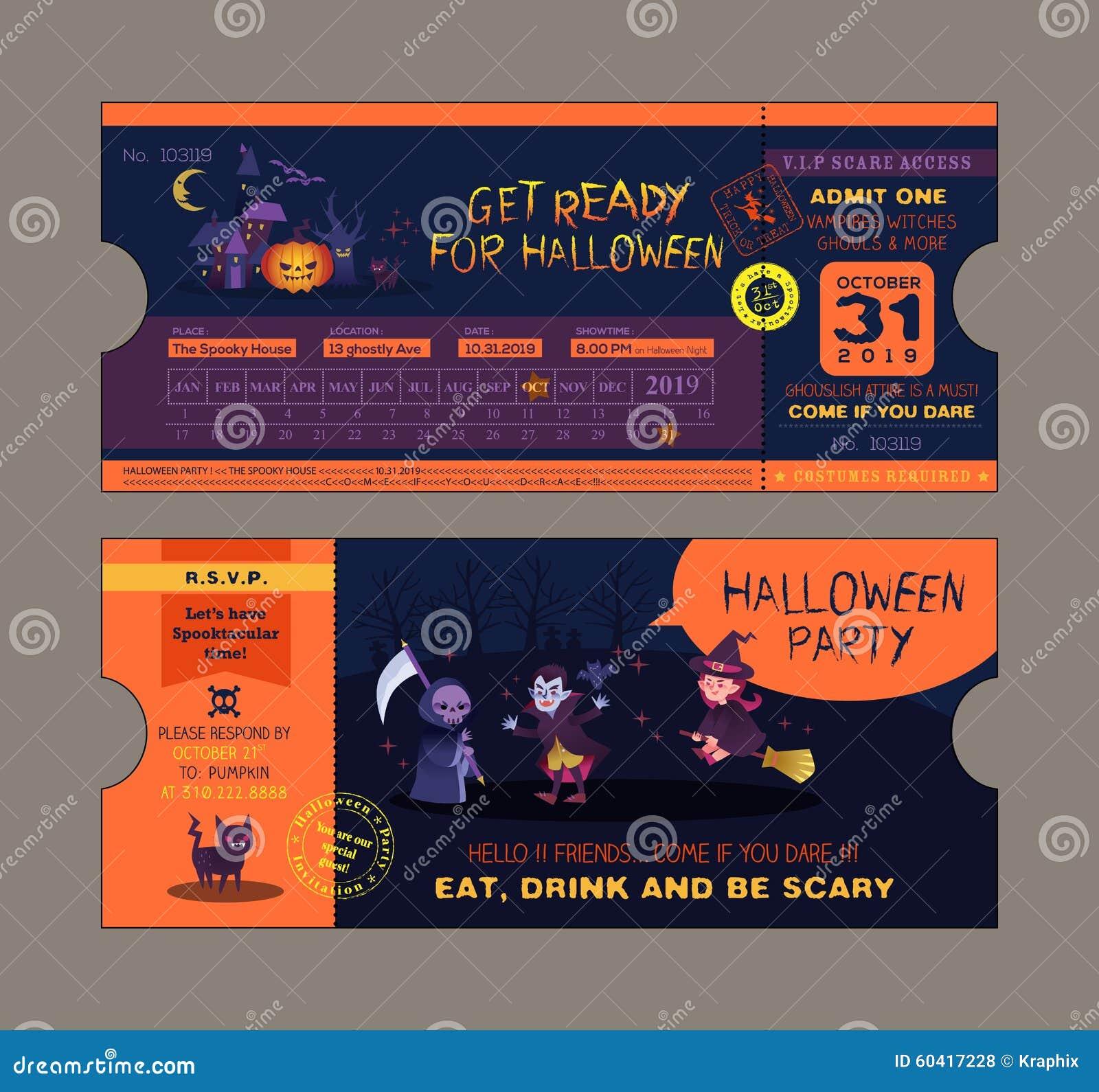 Halloween Party Ticket Card Template Vector