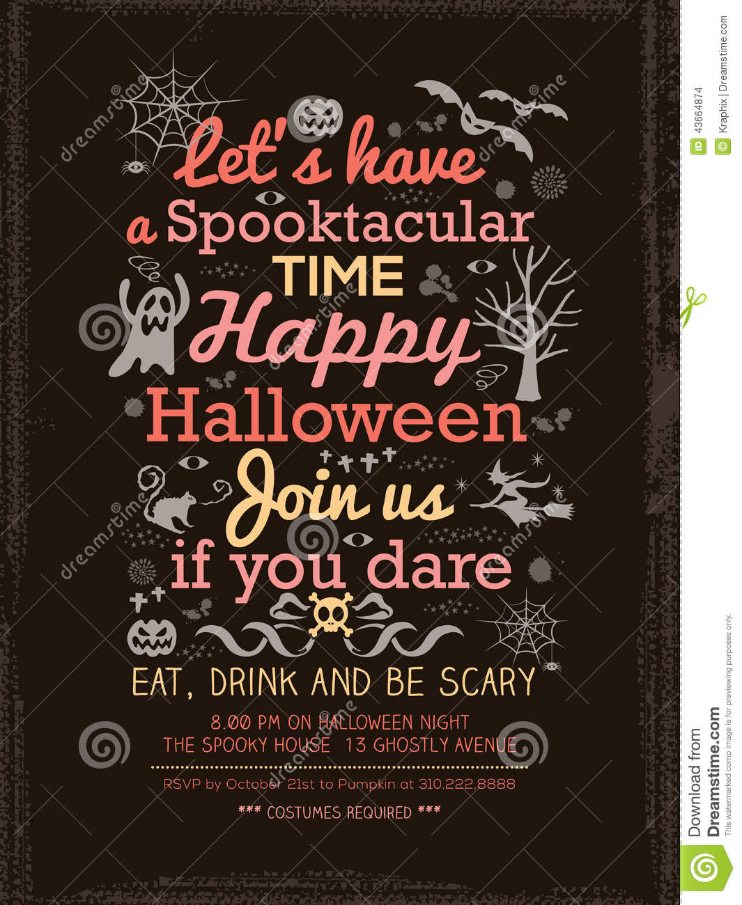 halloween party typography template for card poster flyer stock
