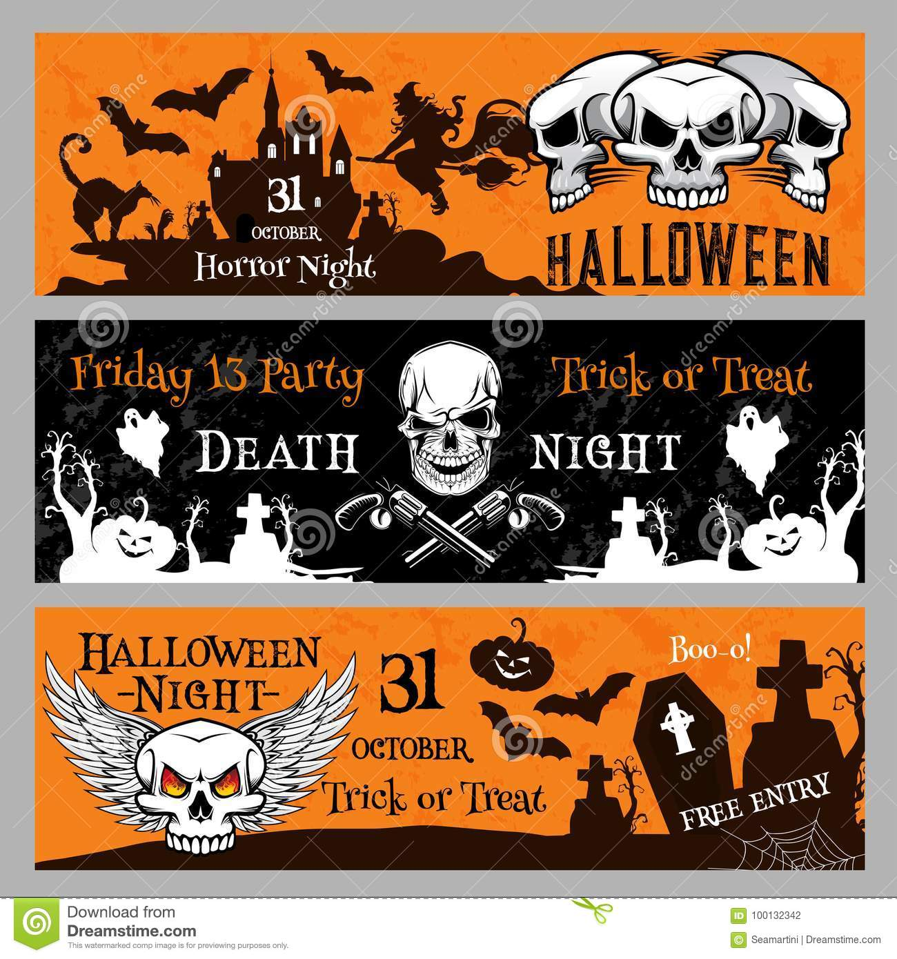 halloween party vector banners for friday 13 night stock vector