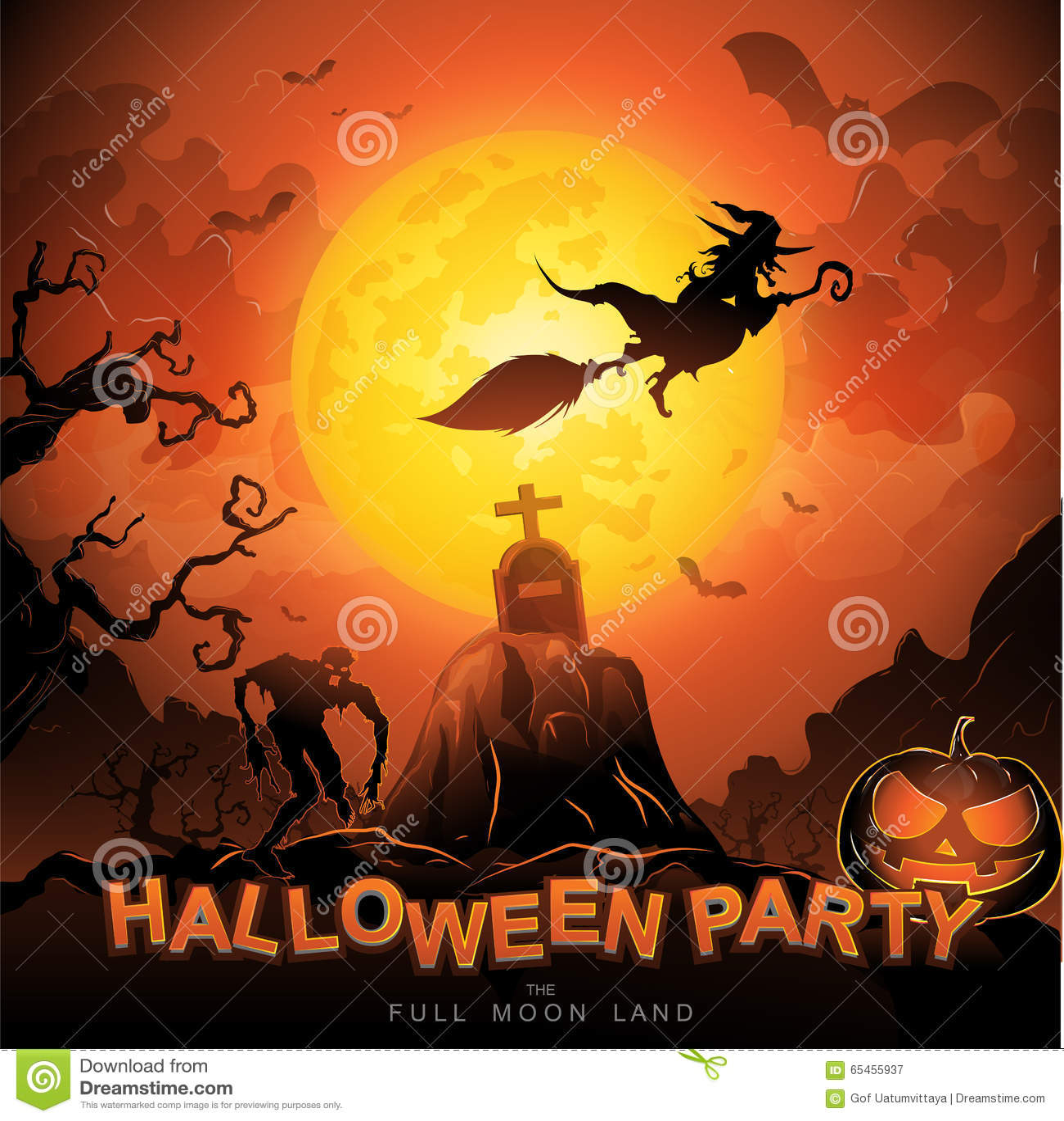 Halloween Party Vector Concept Full Moon Land Stock Vector - Image ...
