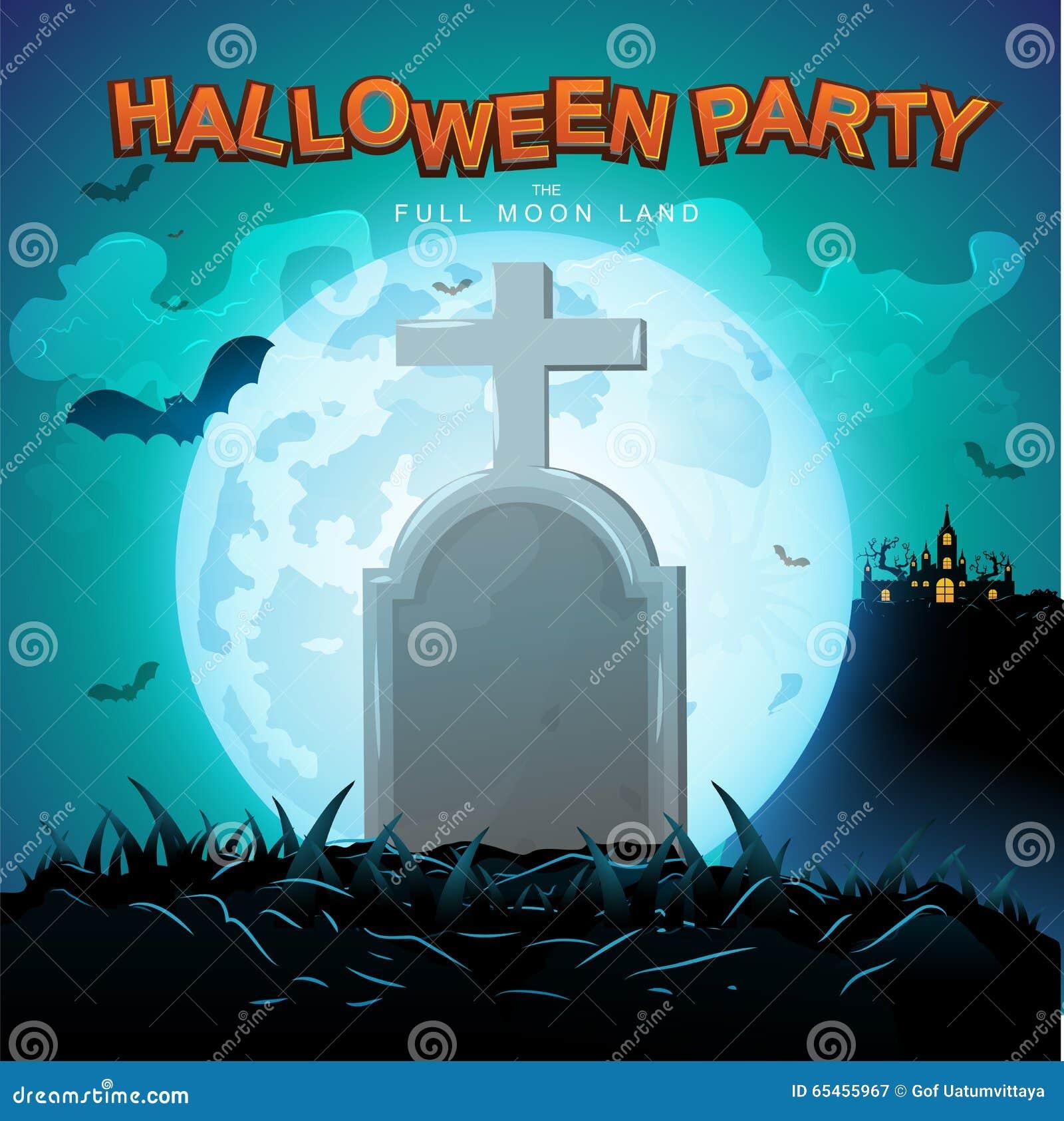 Halloween Party Vector Concept Full Moon Land Stock Illustration ...