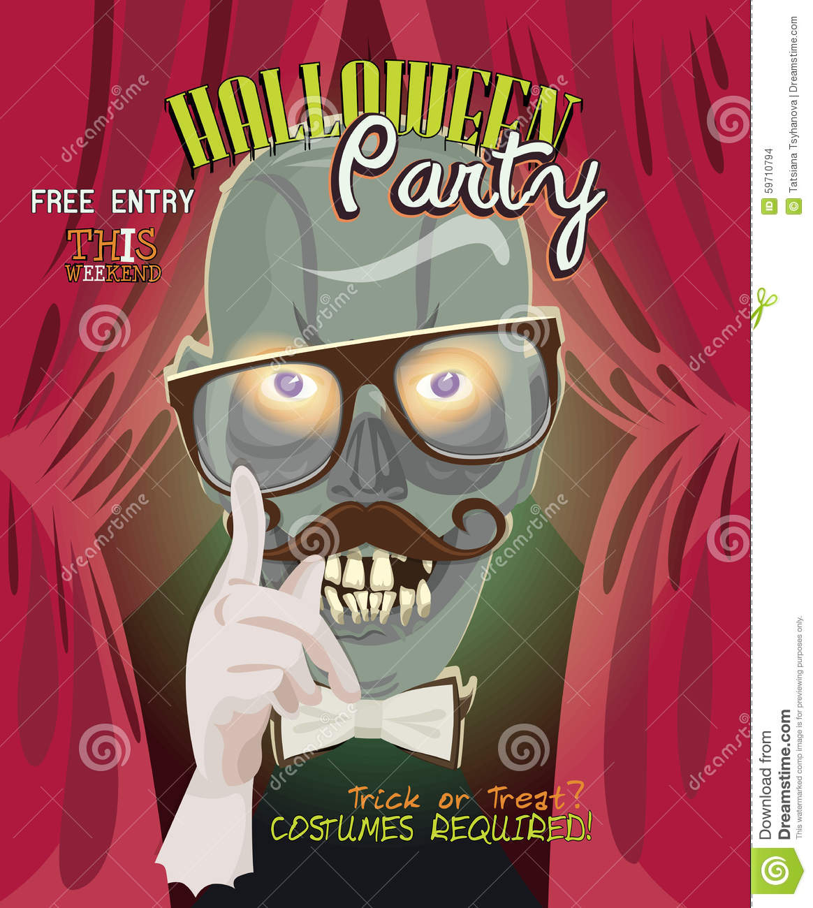 royalty free vector download halloween party vector invitation - Zombie Halloween Invitations