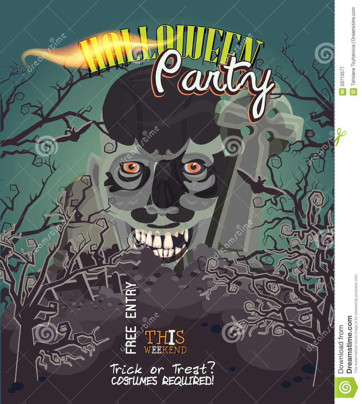 Halloween Party Vector Invitation Card With Zombie Stock