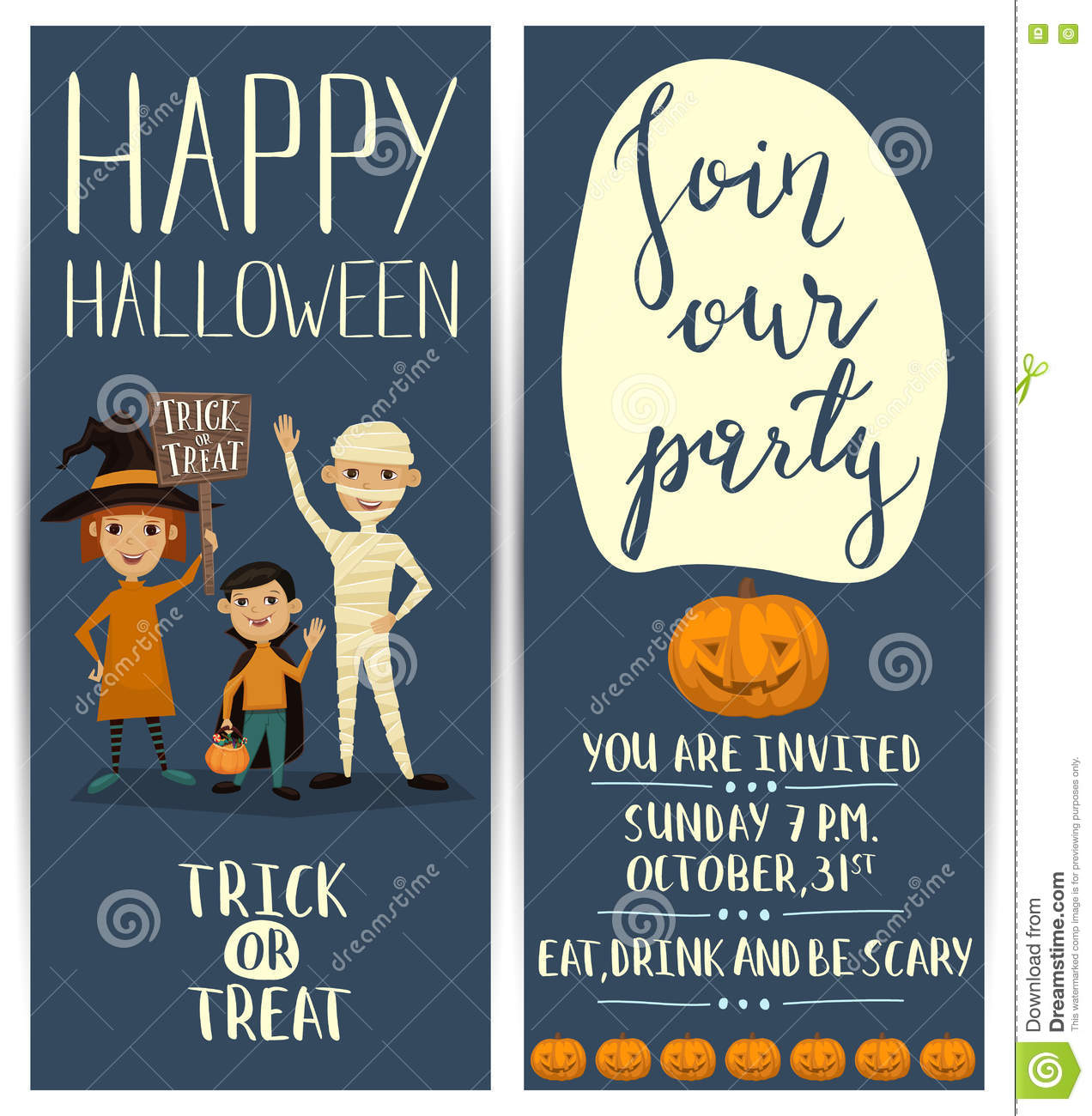 Halloween Party Vertical Flyers Set With Kids Stock Vector - Image ...