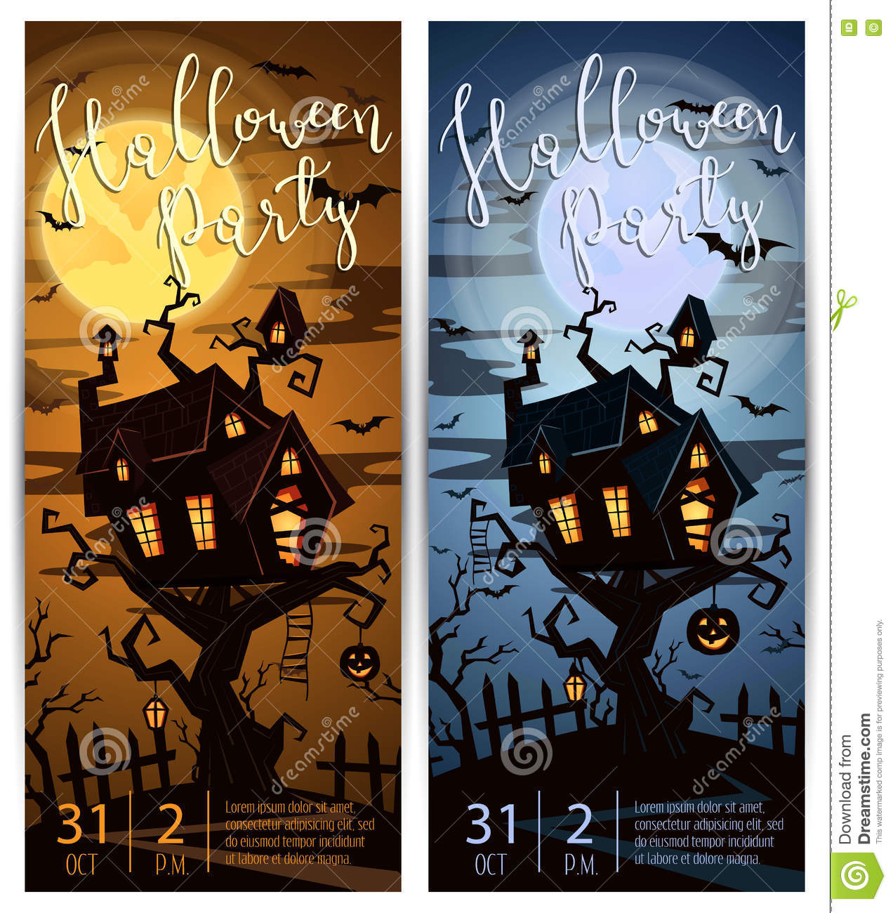 Halloween Party Vertical Flyers With Spooky Castle Stock Vector ...