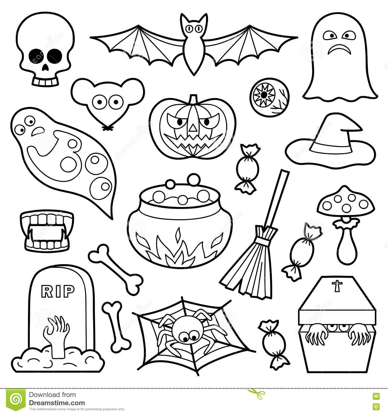 Halloween Patches Set Stock Vector. Illustration Of Back