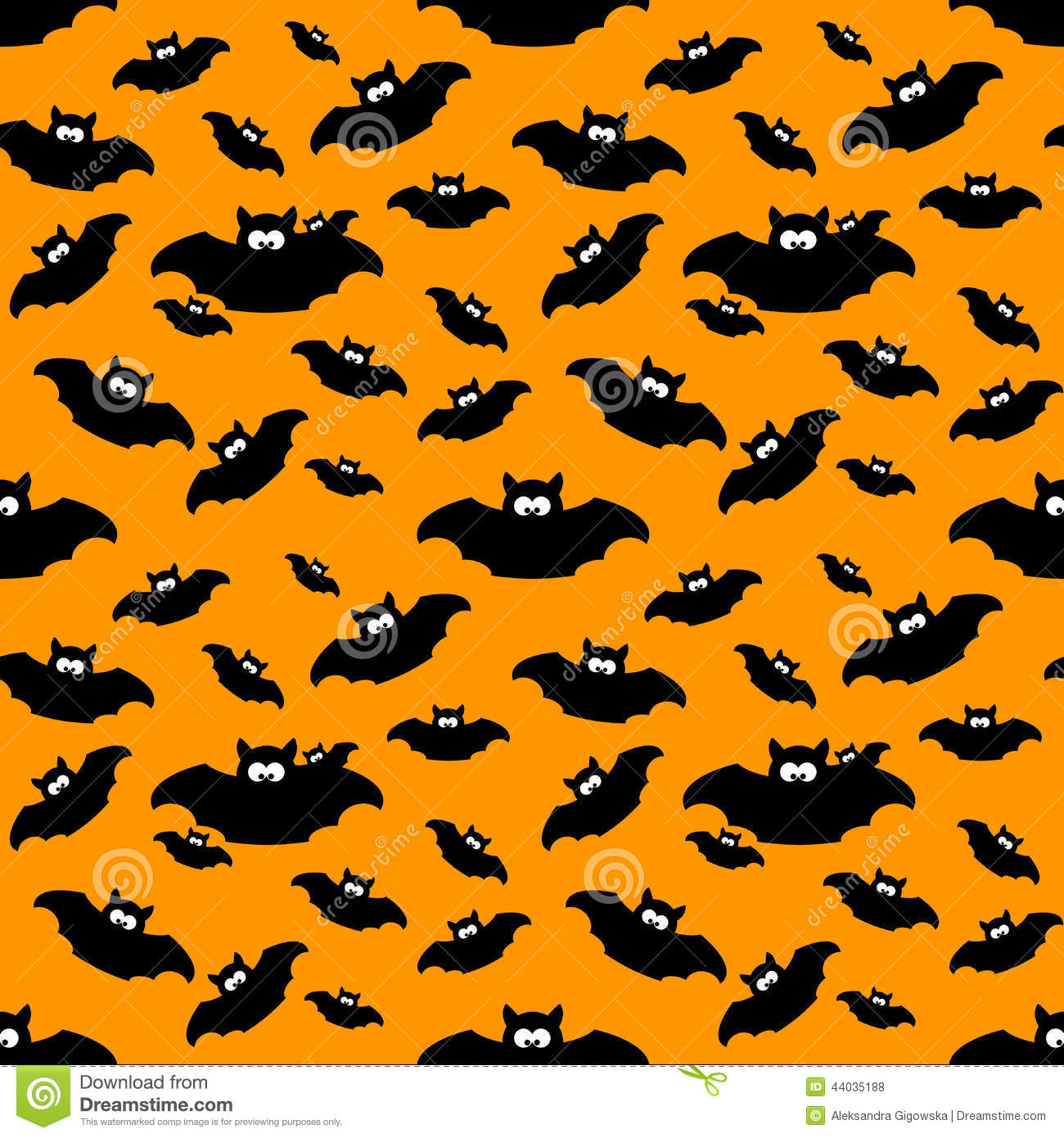 halloween pattern with bats over orange background stock