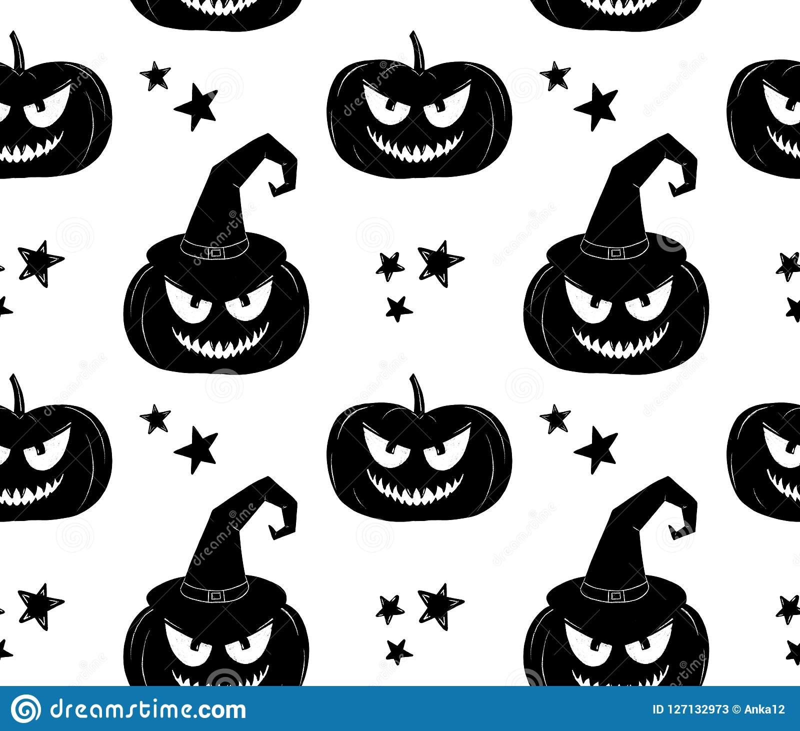 Halloween Pattern Black And White Witch Pumpkin Background Stock