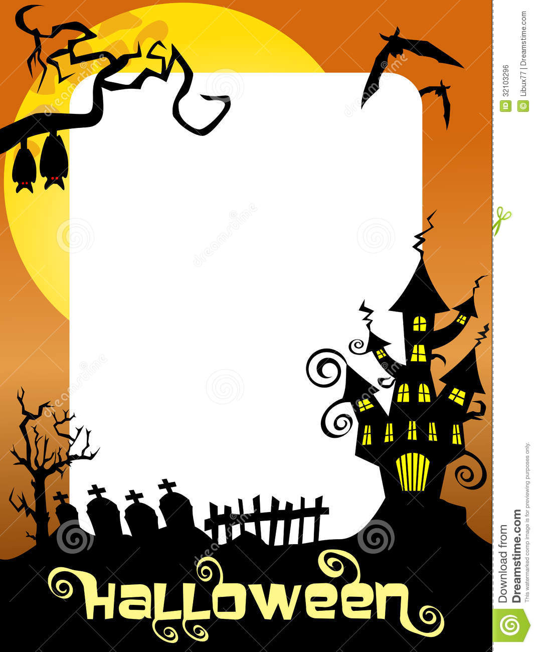 Halloween Photo Frame Ghost Castle Stock Vector - Illustration of ...