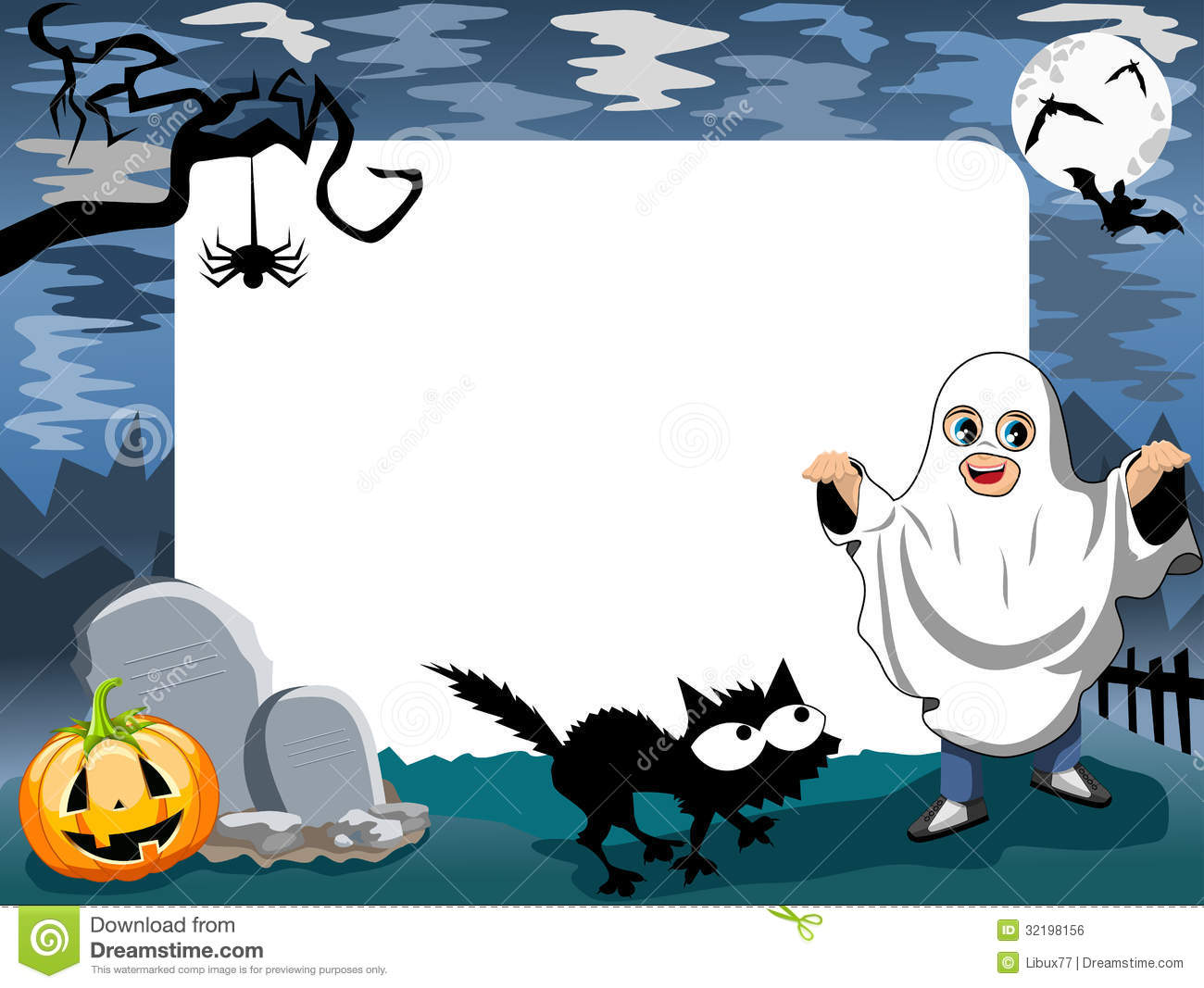 Halloween Photo Frame Phantom Stock Vector - Illustration of pumpkin ...