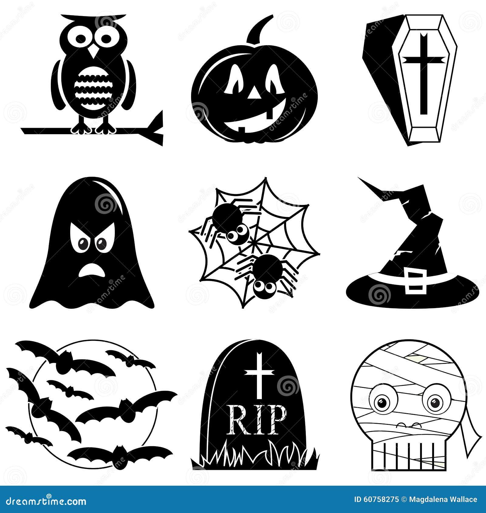 Halloween Kruis.Halloween Pictogrammen In Zwart Wit Met Inbegrip Van Uil