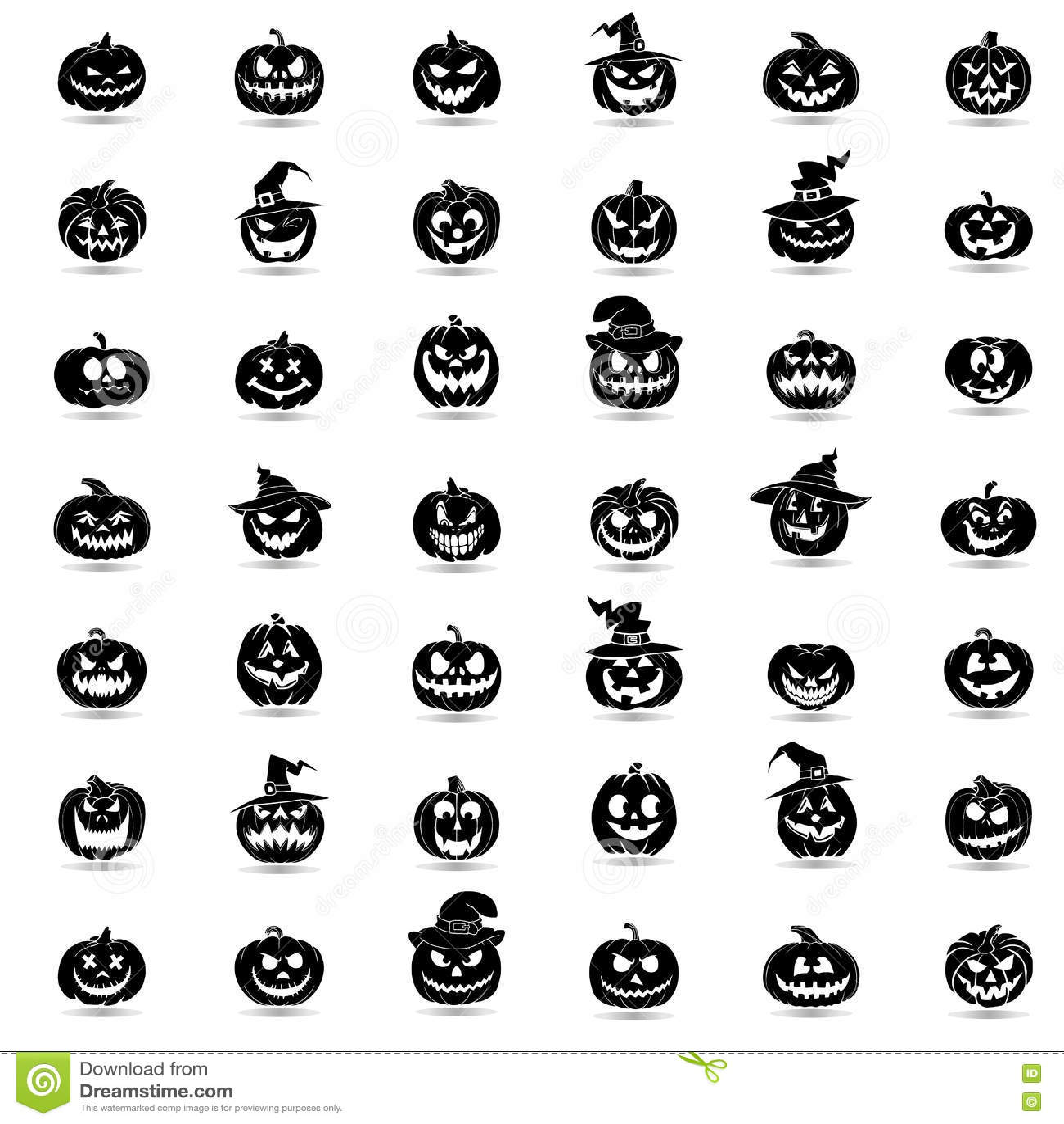 Halloween-pompoen 42 geplaatste pictogrammen