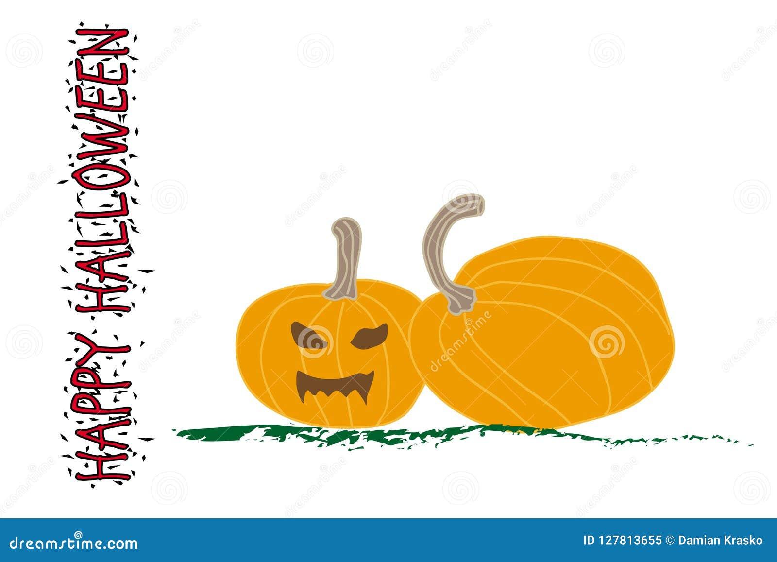 Halloween-pompoen met eng gezicht op wit
