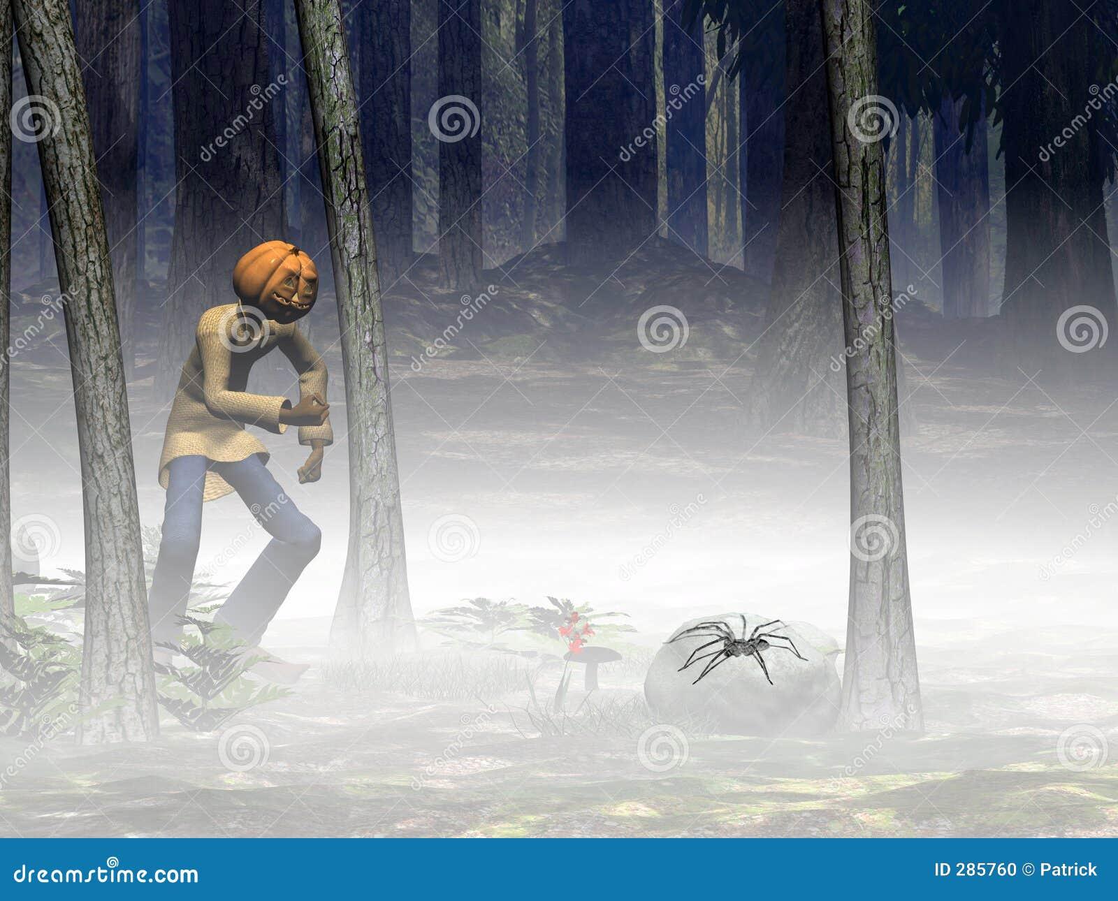 Halloween, pompoenhefboom met spin.