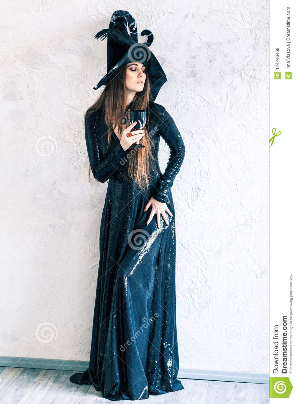 halloween witch in black dress stock photo - image of antique