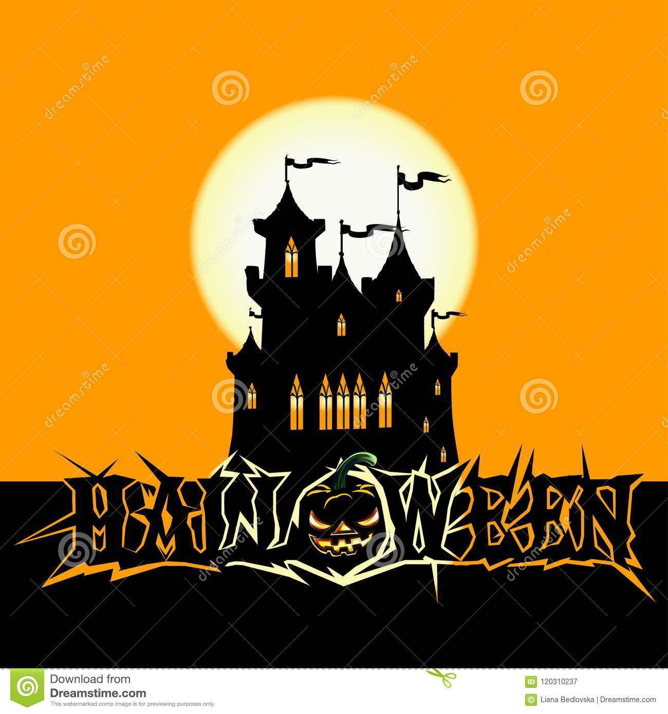 Halloween Poster With Dark Castle Stock Vector Illustration Of