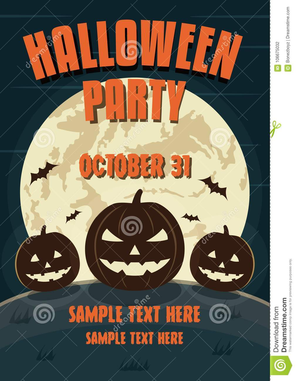 halloween party design template with pumpkins and place for text