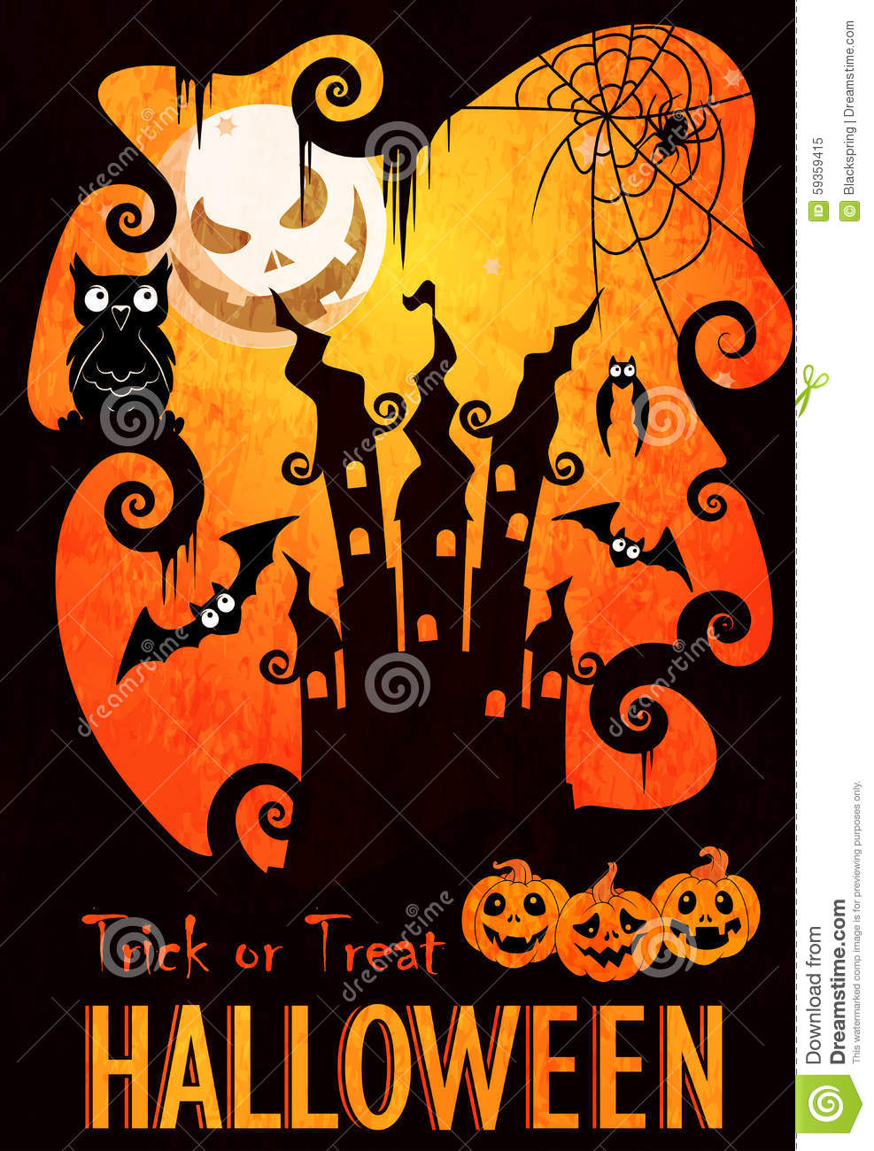 Halloween Poster Template Stock Vector - Image: 59359415