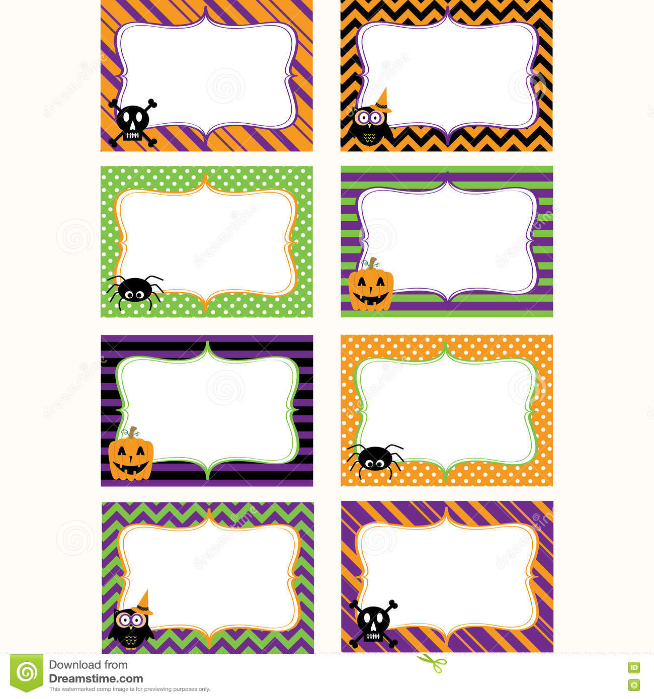 Halloween Printable Labels Set Photo Frame Gift Tags
