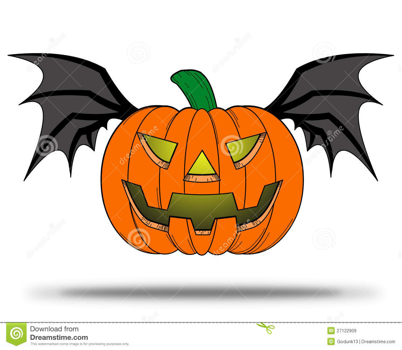 Halloween Pumpkin With Bat Wings. Stock Illustration