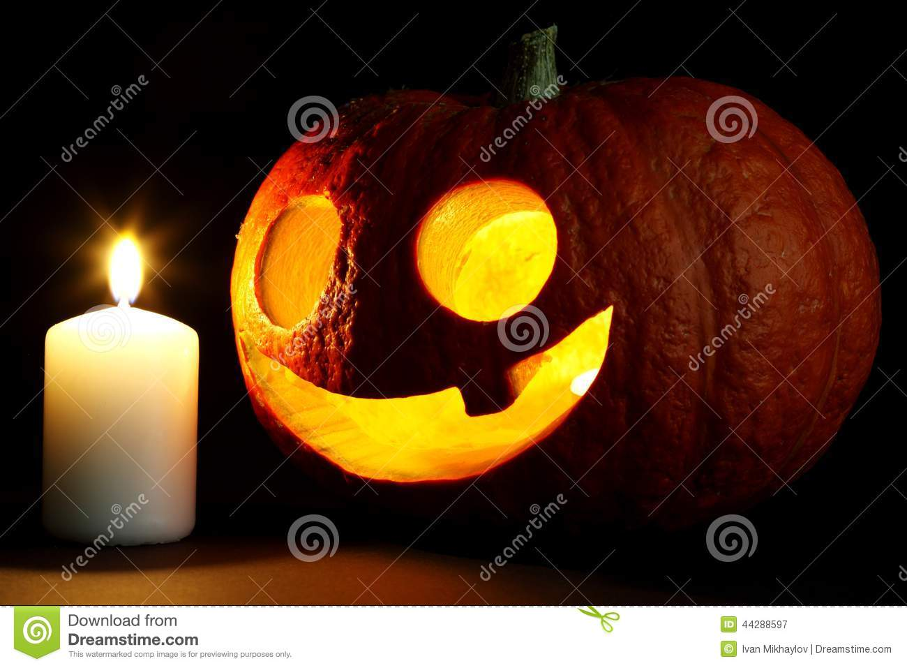 Halloween Pumpkin And Candle Stock Photo - Image: 44288597