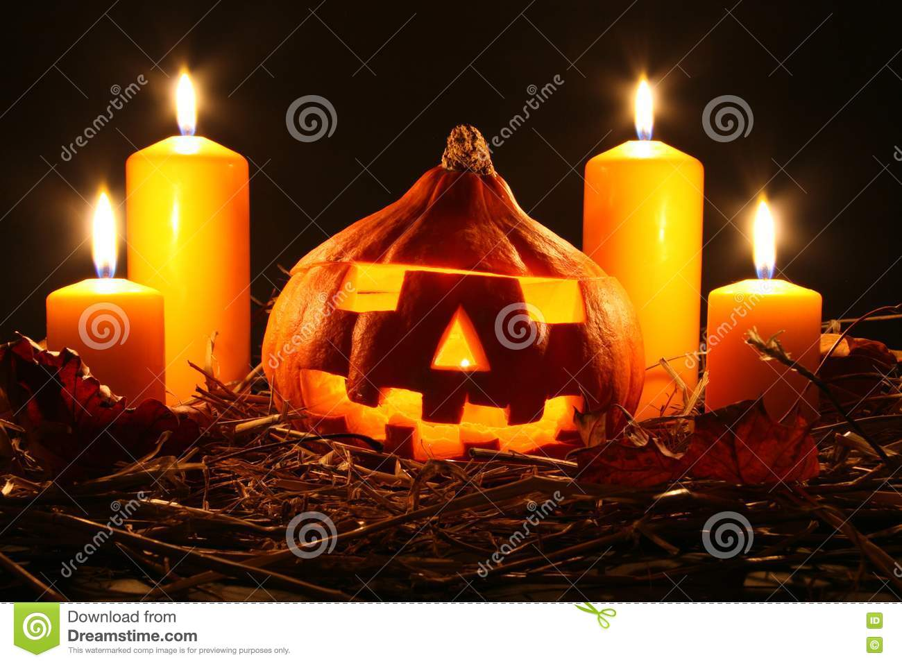 Halloween Pumpkin And Candles Royalty Free Stock Images ...